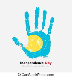 Handprint with the Flag of Palau in grunge style - Hand...