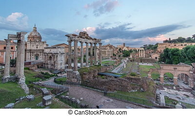 Ruins of Forum Romanum on Capitolium hill day to night timelapse in Rome, Italy