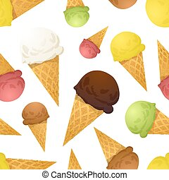 Bright colorful ice cream cones different tastes, seamless pattern