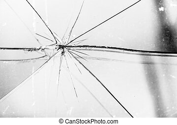 Broken Glass Grayscale - Sharp glass hole cracks splinters,...