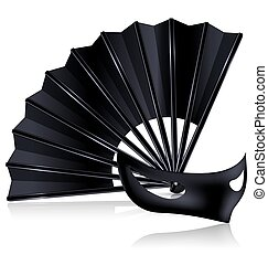 black fan and dark mask - white background and the black fan...