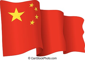 China vector flag isolated on white