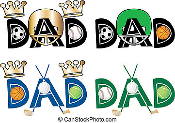 Dad Text 1 - Vector Illustration of Dad Text 1 in four...