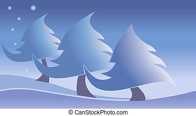 Trees - Three snow trees in snow and stars on the sky