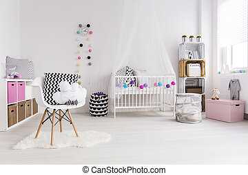 New designed room for little girl - White bedroom designed...