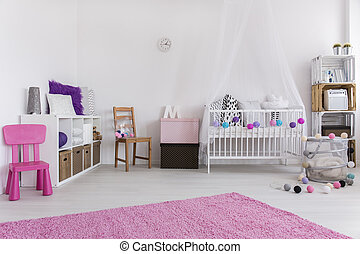 Bedroom prepared for little girl - Cute pink and white...