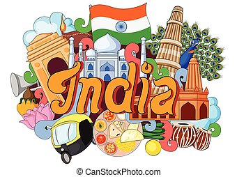 Doodle showing Architecture and Culture of India
