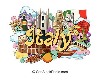 Doodle showing Architecture and Culture of Italy - vector...