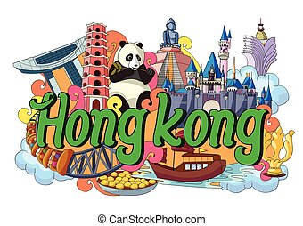 Doodle showing Architecture and Culture of Hong Kong -...