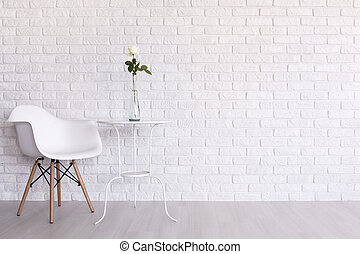 White color in design - Shot of a white modern room with a...