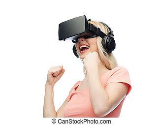 woman in virtual reality headset or 3d glasses - 3d...