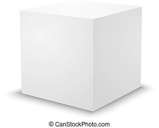 Blank white cube, 3d box template.