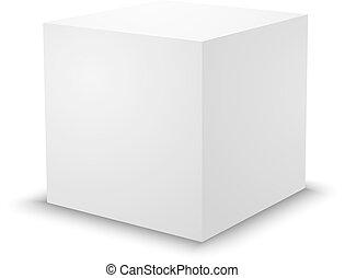 Blank white cube, 3d box template.