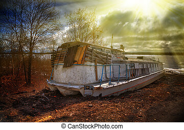 Deserted rusty ship. - Deserted rusty ship on the coast...