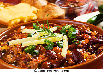 Mexican chili beans - Mexican chili con carne garnished with...