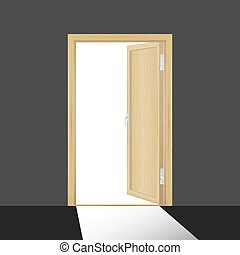 Wooden open door in a dark room