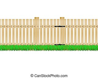 Wooden fence with the door