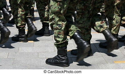 soldiers marching close up