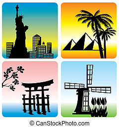 travel landmark - set of vector silhouette illustration of...