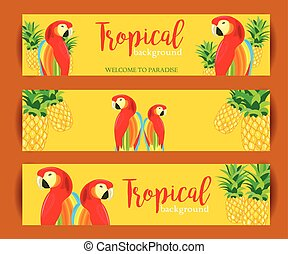 Tropical Background banner with Parrot and Pineapple. Vector...