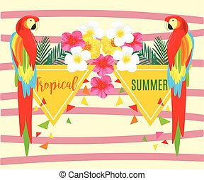 Seamless Pattern with Parrot and Pineapple, Vector geometric illustration. Tropical Summer Poster.