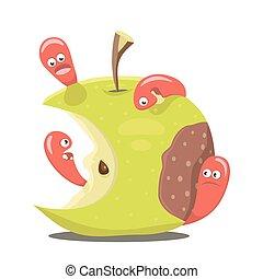 Worm eaten rotten apple flat design vector illustration