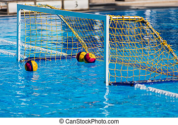 Water polo goal gate in swimming pool