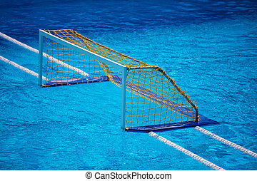 Water polo goal gate in olympic swimming pool