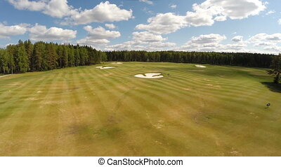 Aerial view of the Golf course. Beautiful landscape