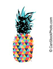 Summer pineapple design with color hipster shapes - Colorful...