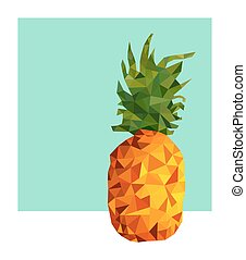 Pineapple fruit modern low poly design for summer