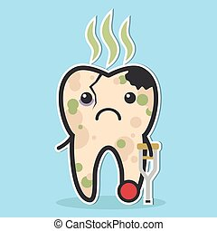 Unhealthy tooth concept - Unhealthy tooth. Cracked tooth...