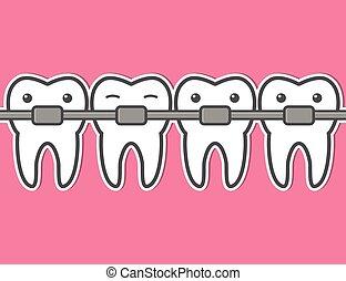 Cartoon tooth braces. - Cartoon teeth braces. Funny dental...