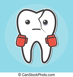 Tooth with a crack wear boxing gloves - Tooth wear boxing...