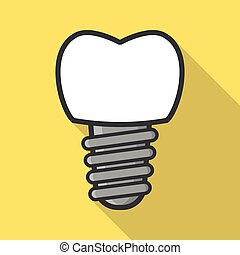Dental implant icon - Dental implant in flat style. Tooth...