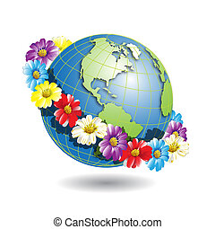 Globe in wreath - Illustration, globe in wreath from...