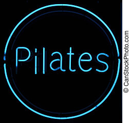Pilates Neon Sign - Pilates Neon Blue Sign with Black...
