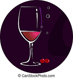 Wine glass - Illustration of wine glass and fruits in black...