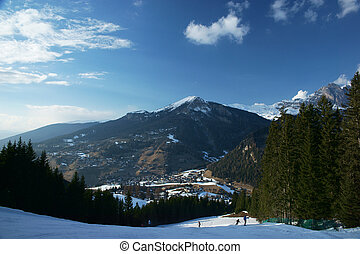 Skiing resort on a sunny day
