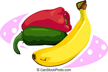 Banana and capsicum - illustration of vegetable and fruit...