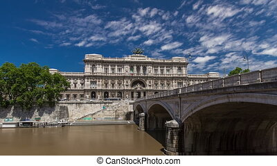 Rome, Italy. Palace of Justice timelapse hyperlapse - courthouse building with Ponte Sant' Umberto bridge