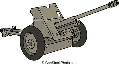 Old gray cannon - Hand drawing of an old gray cannon