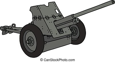 Old khaki cannon - Hand drawing of an old khaki cannon