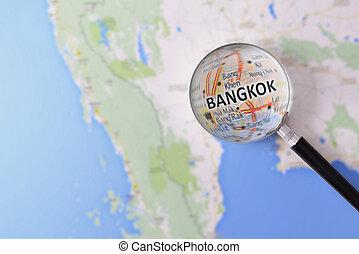 consulta, con, Aumentar, vidrio, mapa, de, Bangkok,