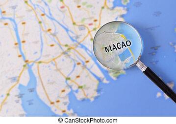 consulta, con, Aumentar, vidrio, mapa, de, Macao,
