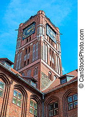 Gothic tower of town hall in Torun-city on The World...