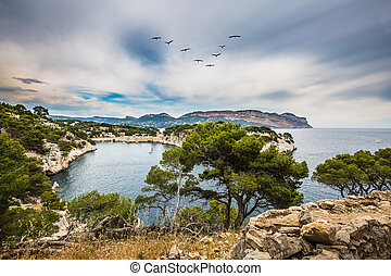 The bay- Calanque with rocky steep banks - National Park...