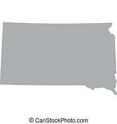 map US state of South Dakota - map of the US state of South...
