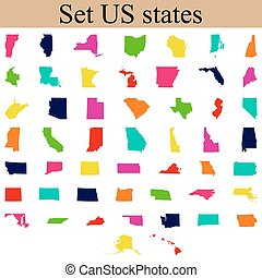 set of US state maps vector illustration