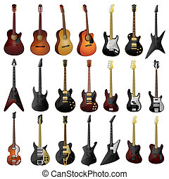 Set of isolated guitars.